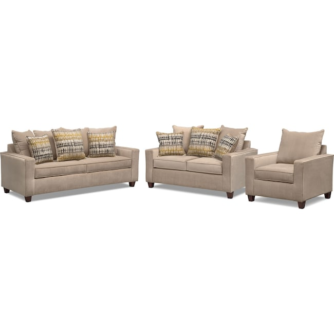 Living Room Furniture - Bryden Sofa, Loveseat and Chair Set - Beige
