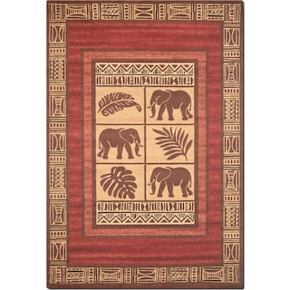 Ava 8' x 10' Area Rug - Red and Beige