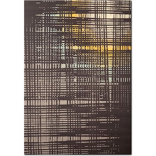 Broadway 5' x 8' Area Rug - Yellow, Teal and Charcoal