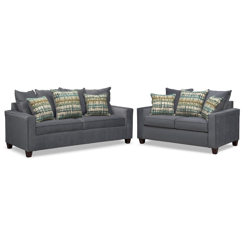 Bryden Sofa and Loveseat Set - Slate
