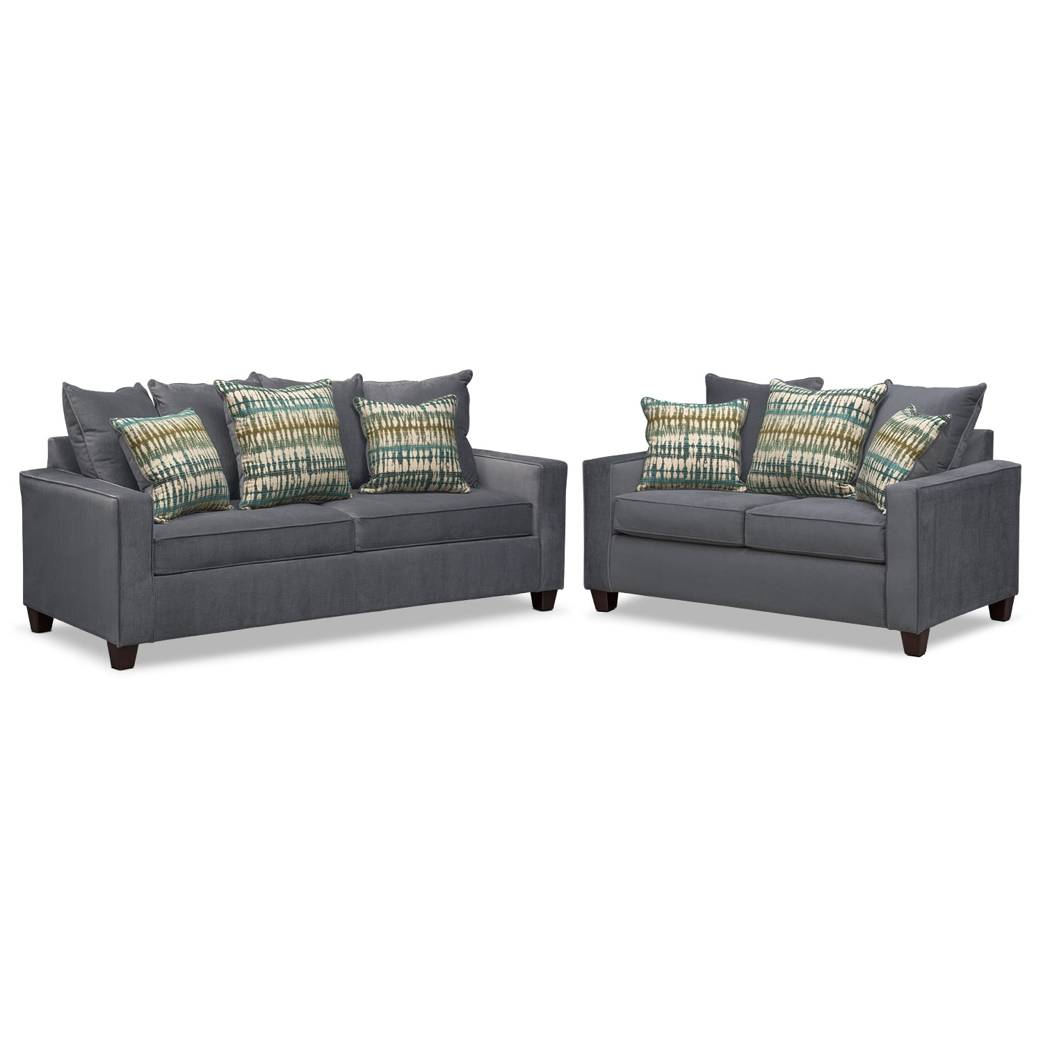 Living Room Furniture - Bryden Sofa and Loveseat Set - Slate