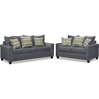 Bryden Queen Memory Foam Sleeper Sofa and Loveseat Set - Slate
