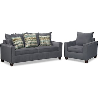 Bryden Queen Innerspring Sleeper Sofa and Chair Set - Slate