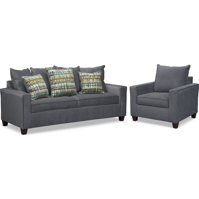 Living Room Furniture - Bryden Sofa and Chair Set - Slate