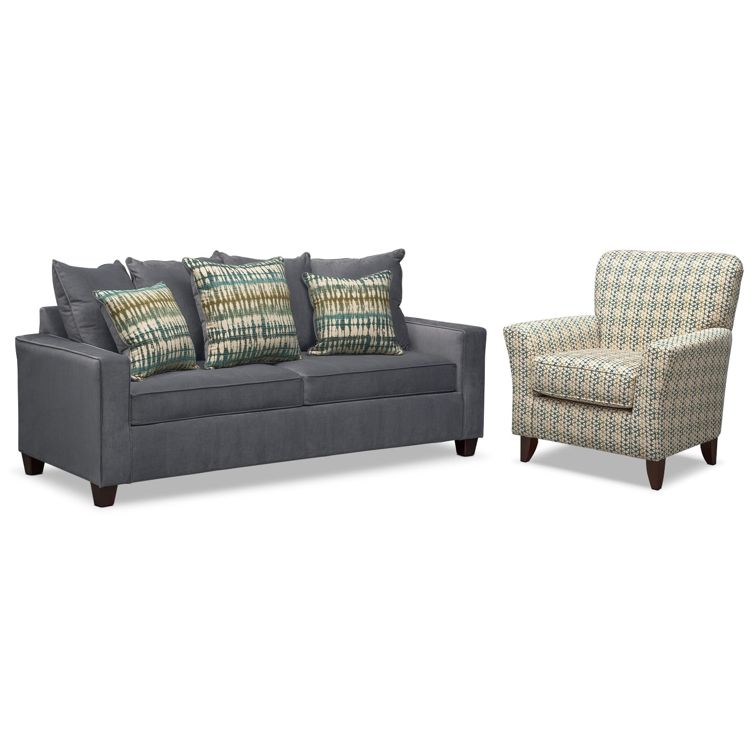 Bryden Queen Innerspring Sleeper Sofa And Accent Chair Set Slate American Signature Furniture