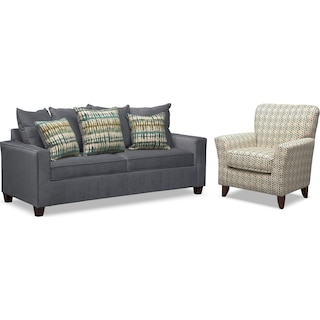 Bryden Queen Memory Foam Sleeper Sofa and Accent Chair Set - Slate