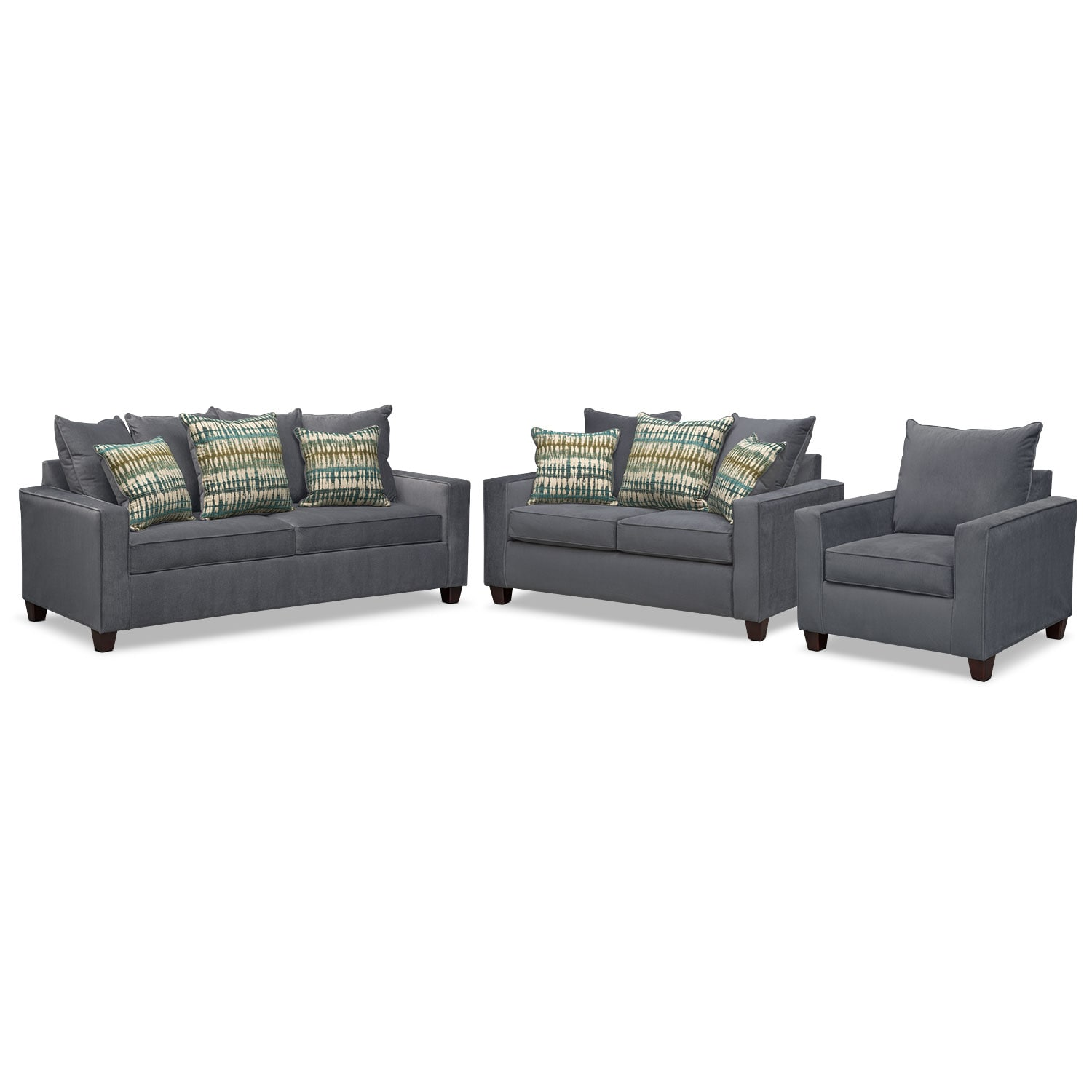Bryden Sofa, Loveseat and Chair Set - Slate