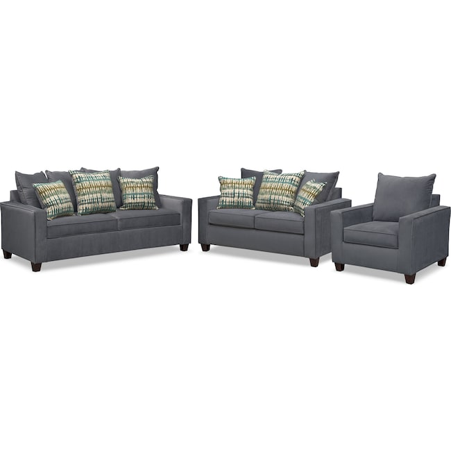 Living Room Furniture - Bryden Innerspring Sleeper Sofa, Loveseat and Chair Set - Slate