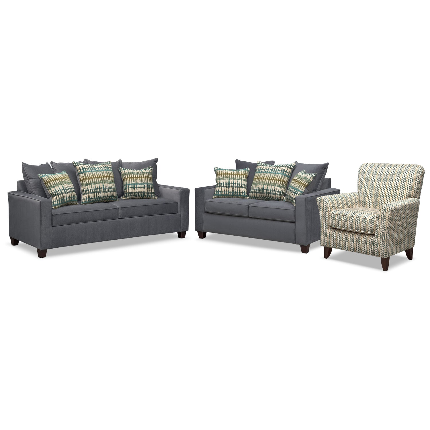 Living Room Furniture - Bryden Queen Innerspring Sleeper Sofa, Loveseat and Accent Chair Set - Slate
