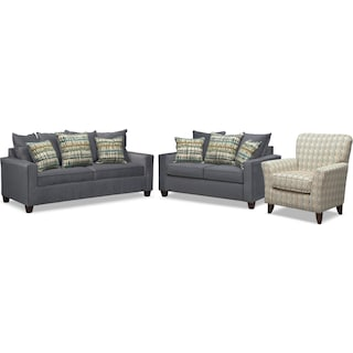 Bryden Queen Memory Foam Sleeper Sofa, Loveseat and Accent Chair Set - Slate