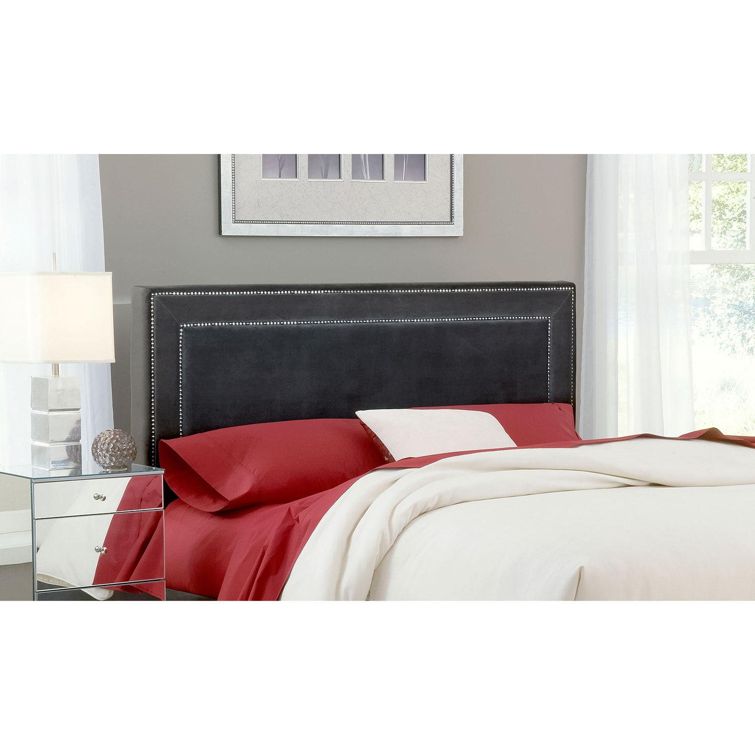 American Signature Furniture Replacement Parts: Amber Queen Upholstered Headboard - Pewter