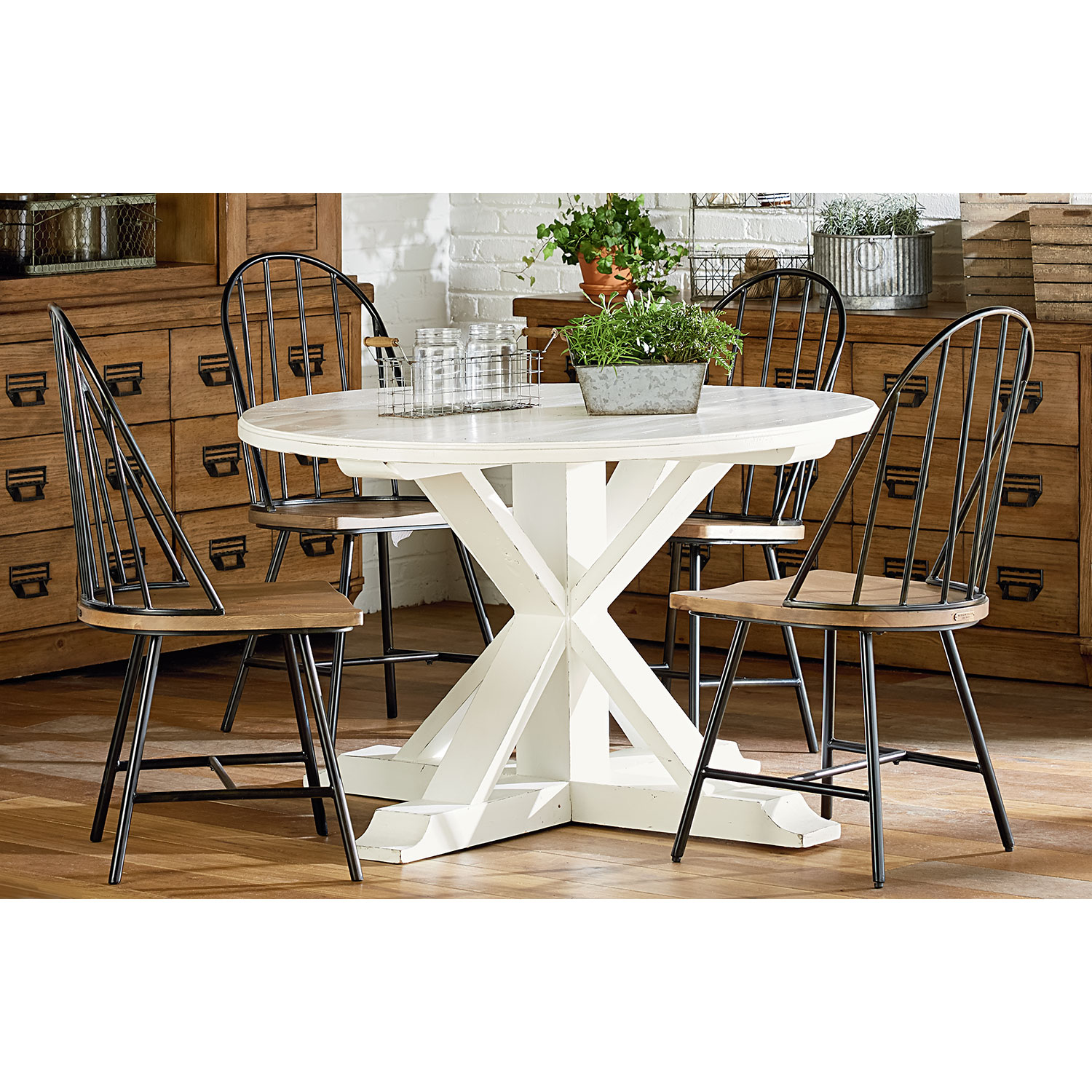 Dining Room Furniture - Farmhouse Childers Round Table and Four Primitive Windsor Metal Hoop Side Chairs