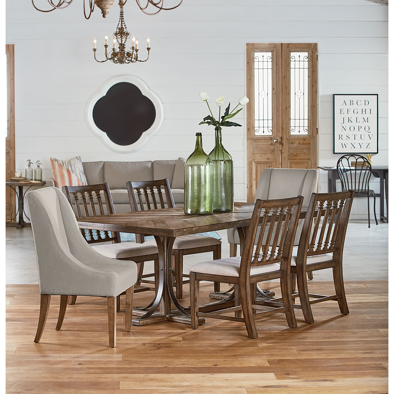 Dining Room Furniture - Traditional Iron Trestle Table, Two Demi-Wing Upholstered Chairs, and Four Revival Side Chairs