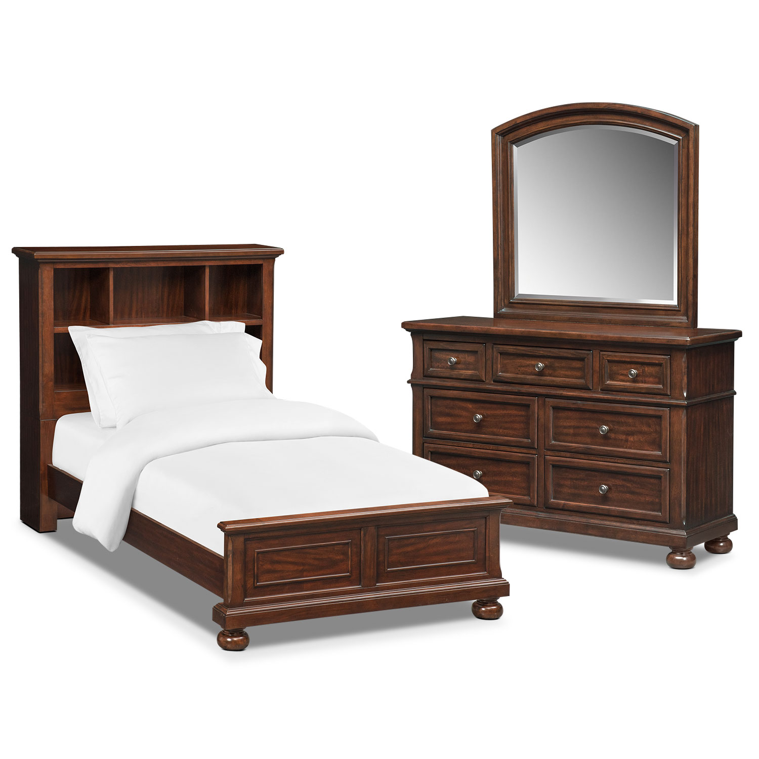 Bedroom Furniture - Hanover Youth 5-Piece Bookcase Bedroom Set with Dresser and Mirror