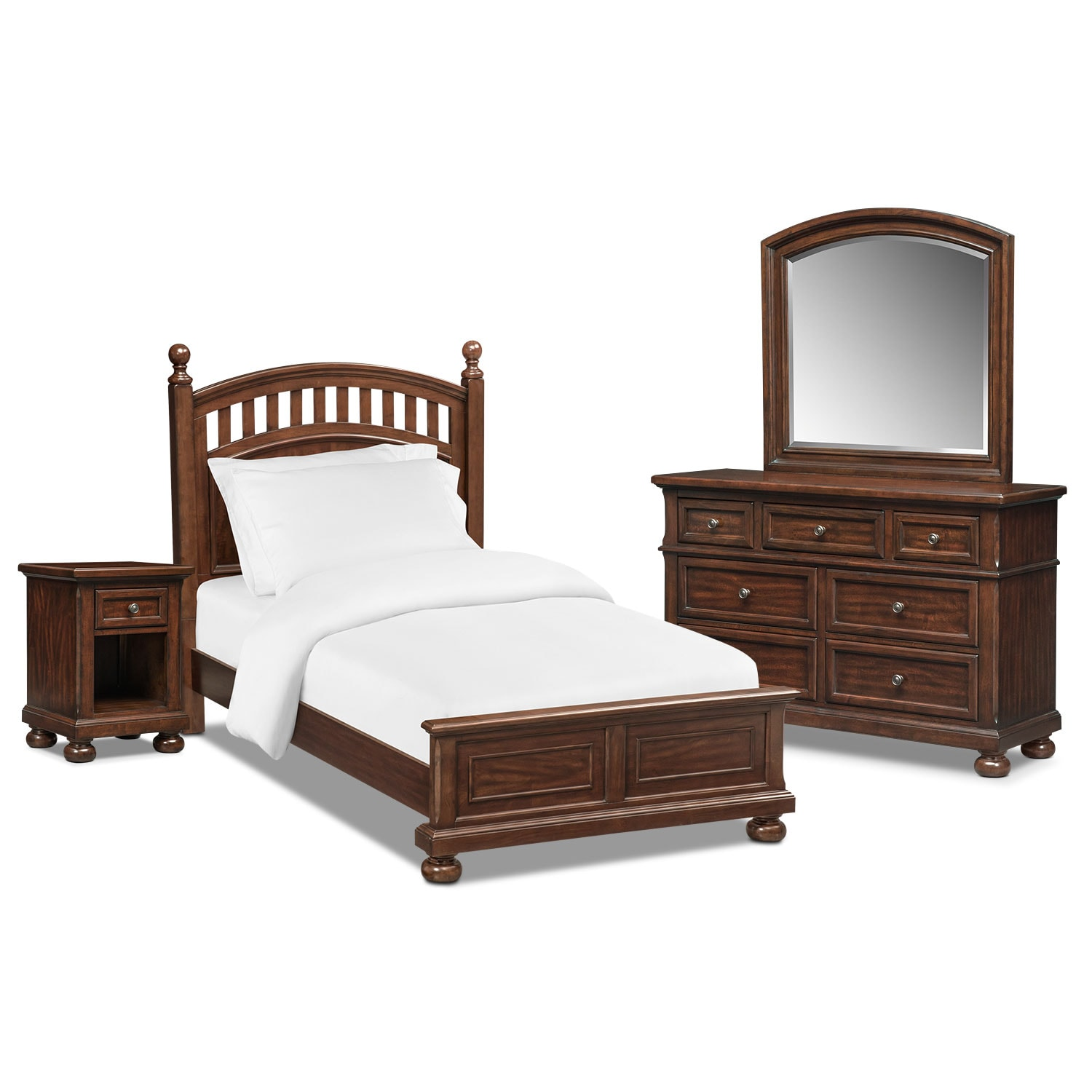 Hanover youth 6 piece twin poster bedroom set cherry for Bedroom 6 piece set
