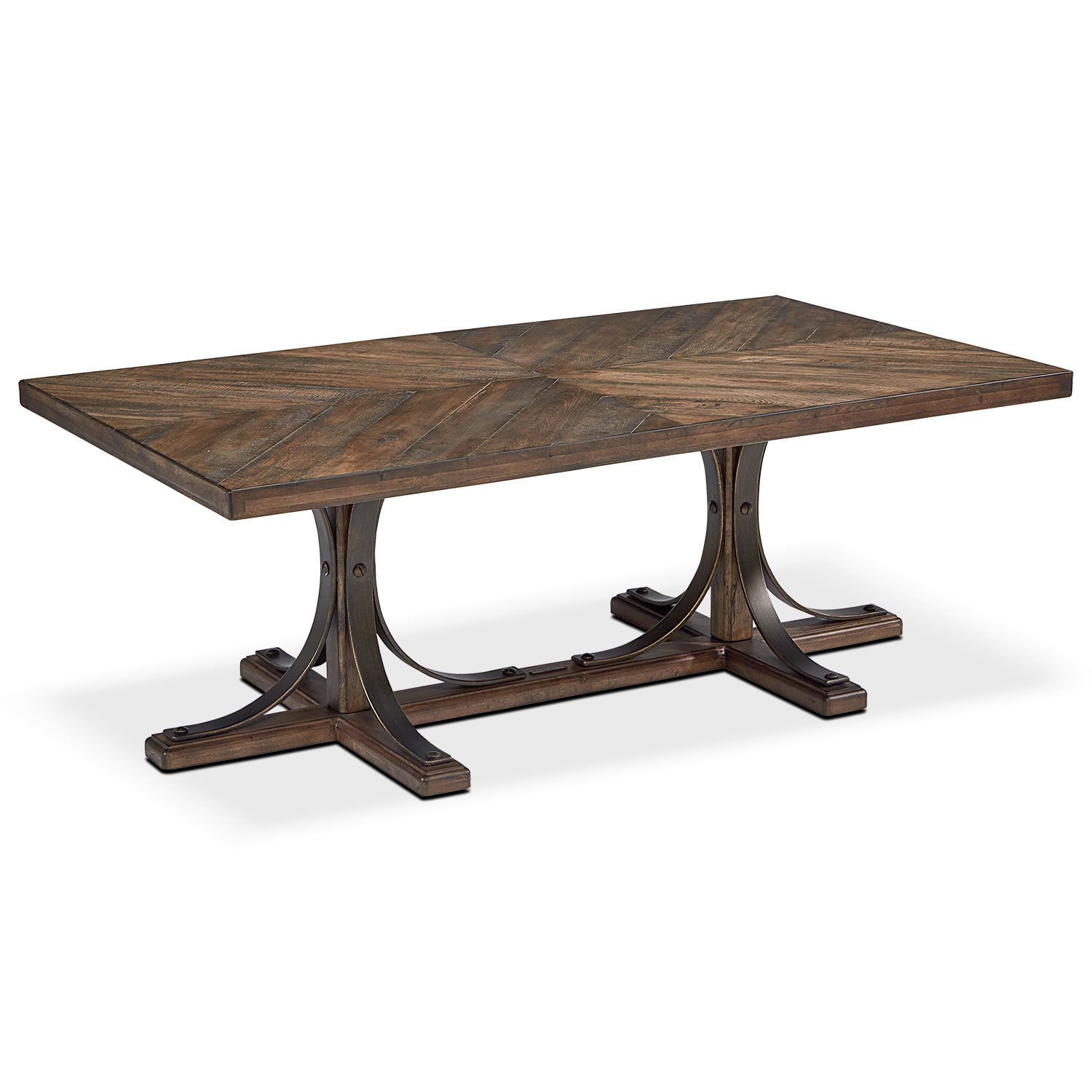 Accent and Occasional Furniture - Traditional Iron Trestle Coffee Table