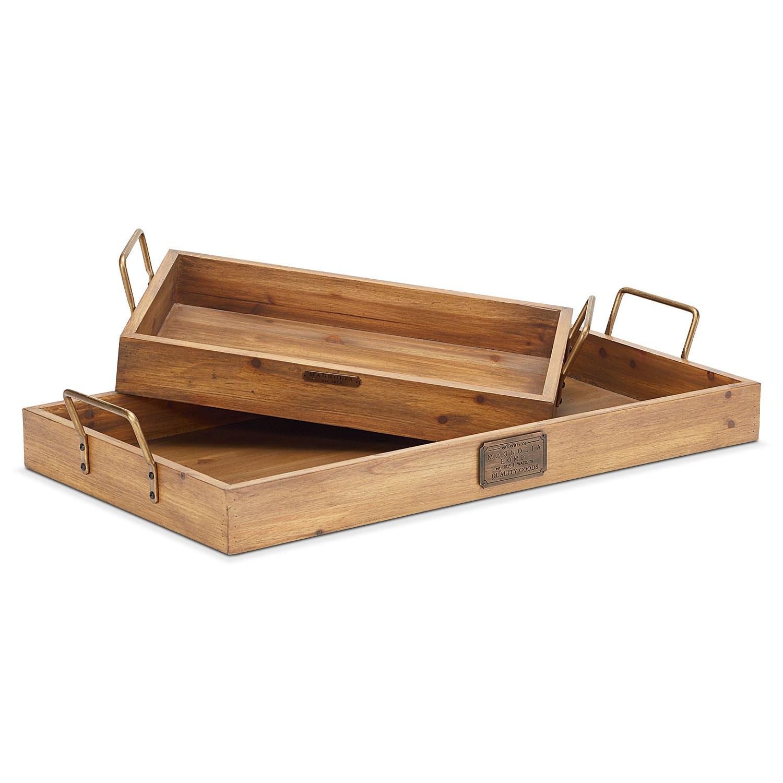 Breakfast Tray Set - Copper Handles