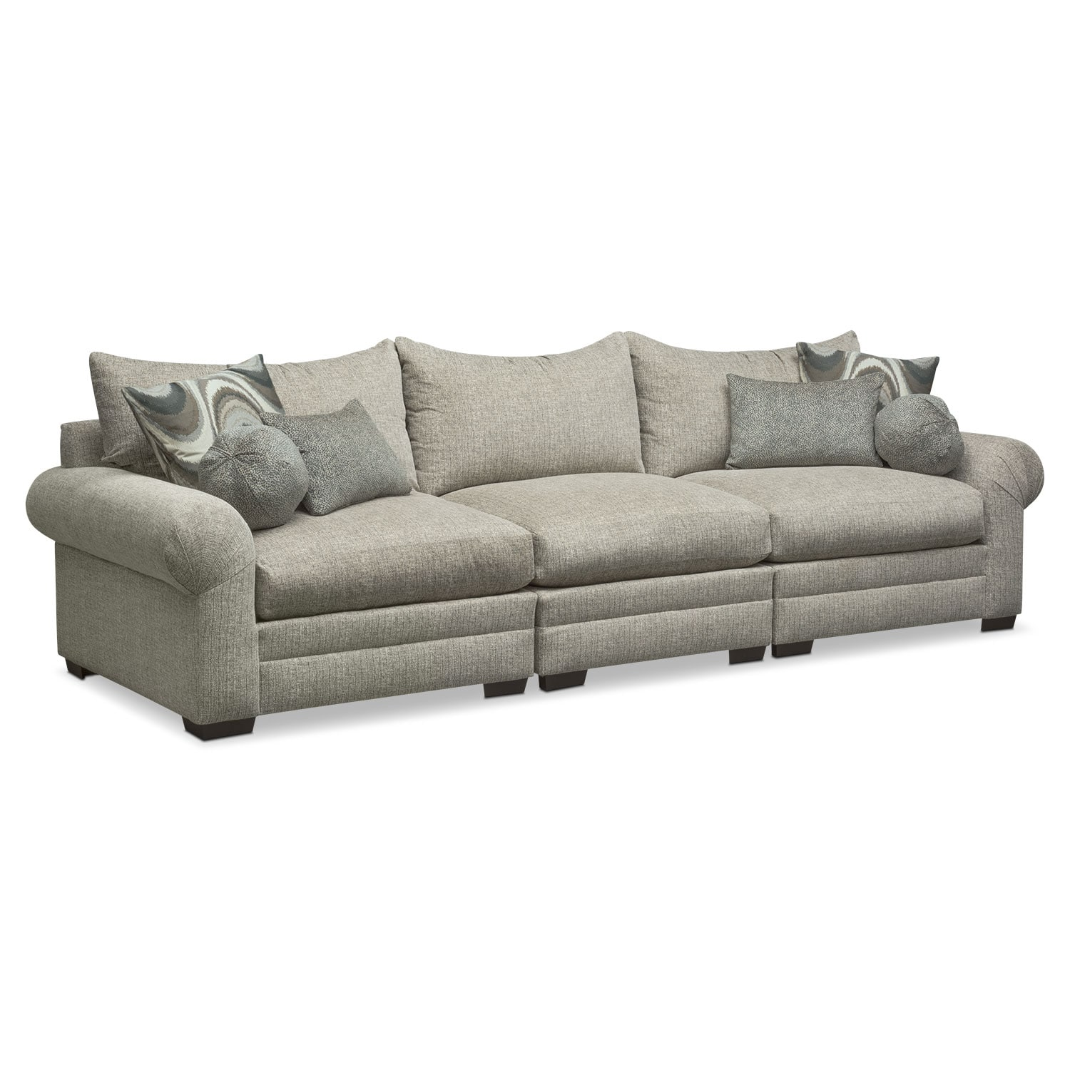 Living Room Furniture - Wilshire 3-Piece Sectional - Gray