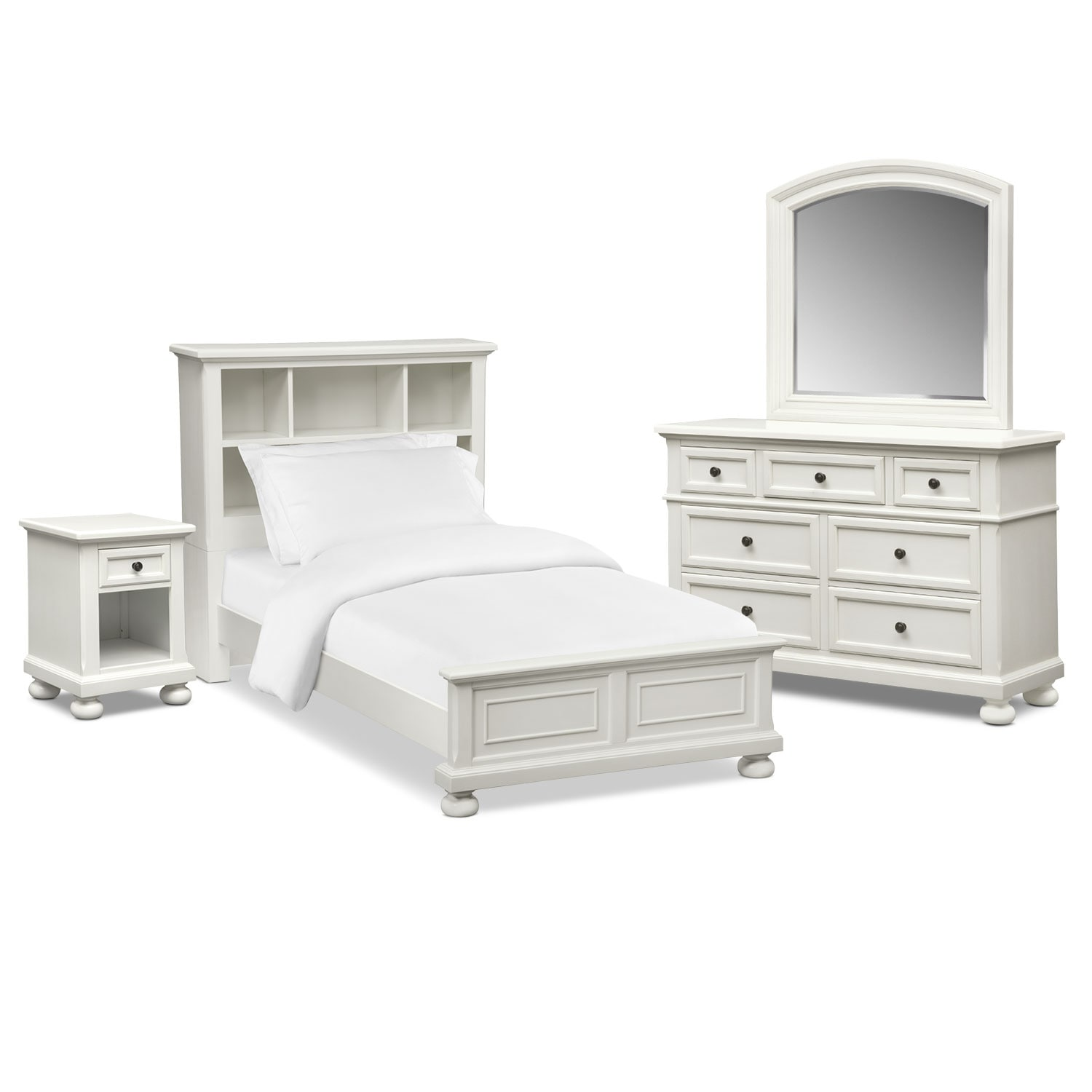Hanover Youth 6-Piece Twin Bookcase Bedroom Set - White