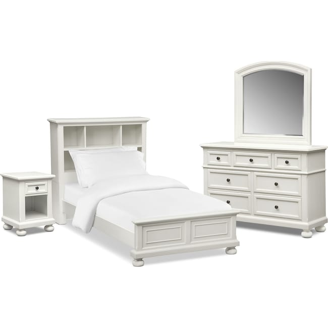 Kids Furniture - Hanover Youth 6-Piece Bookcase Bedroom Set with Nightstand, Dresser and Mirror