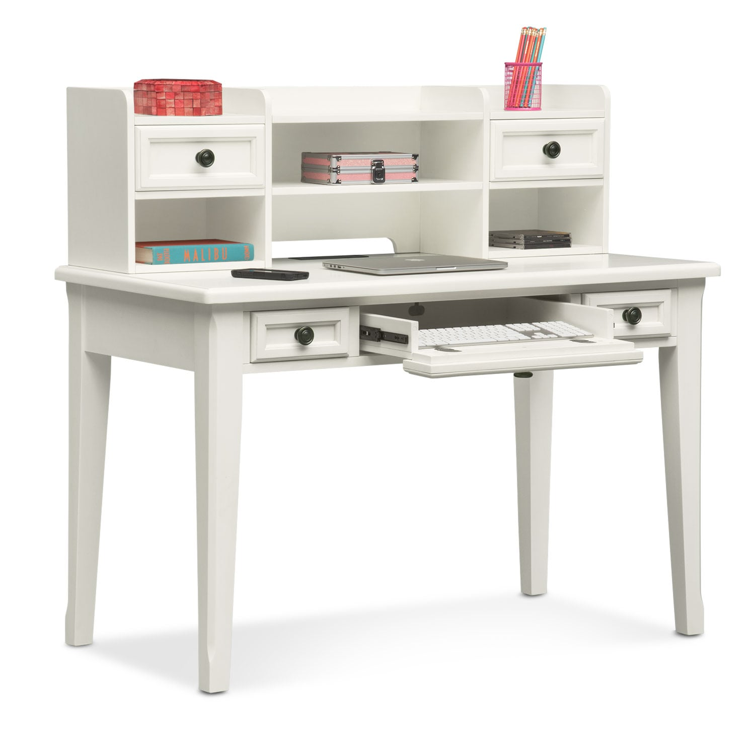 Bedroom Furniture With Desk: Hanover Youth Desk And Hutch - White