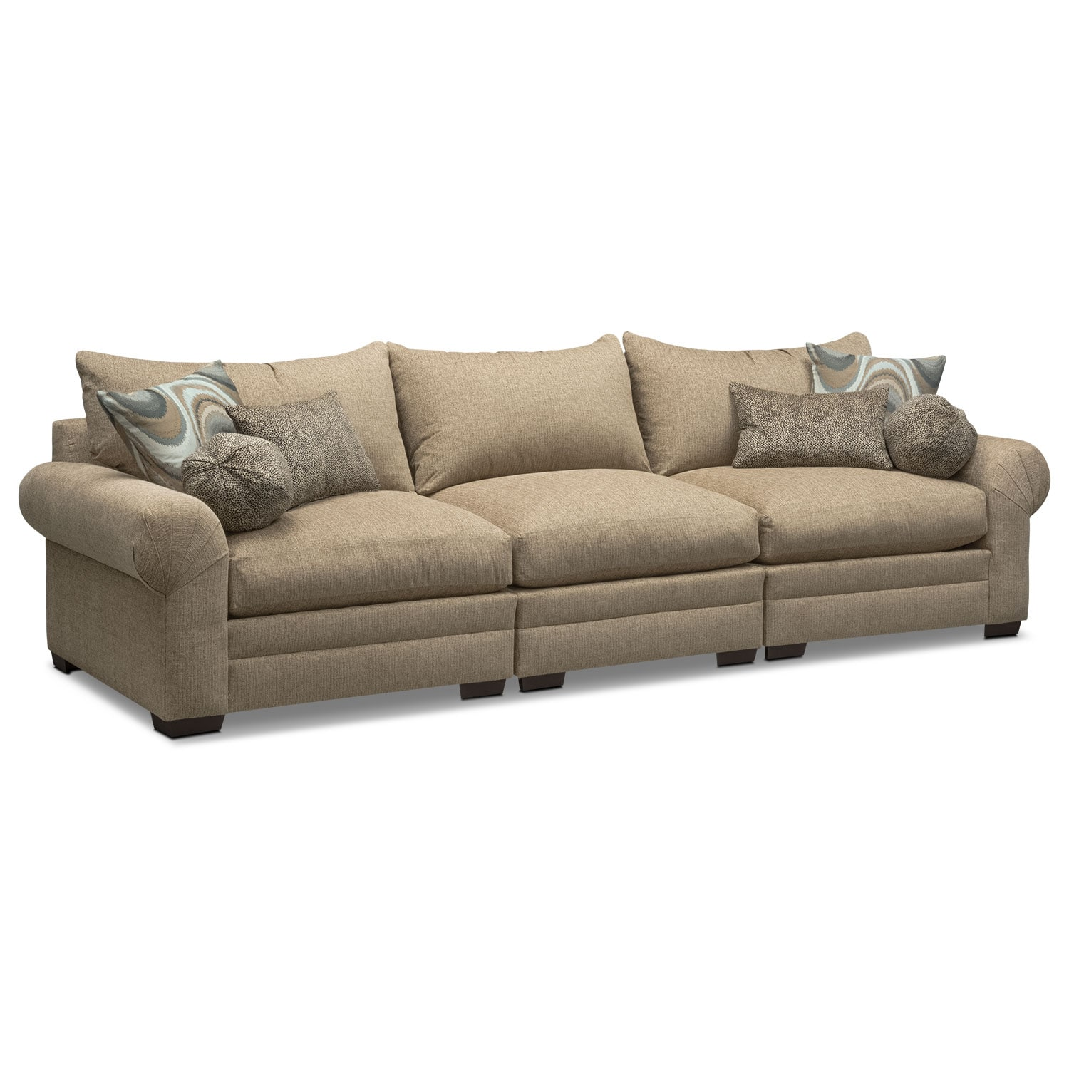 Living Room Furniture - Wilshire 3-Piece Sectional - Taupe