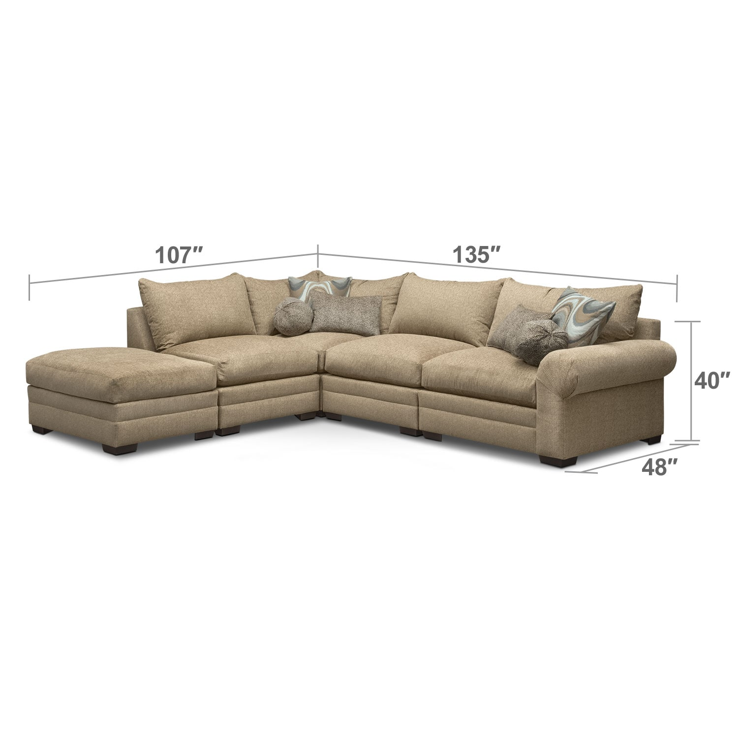 Living Room Furniture - Wilshire 5-Piece Left-Facing Sectional - Taupe