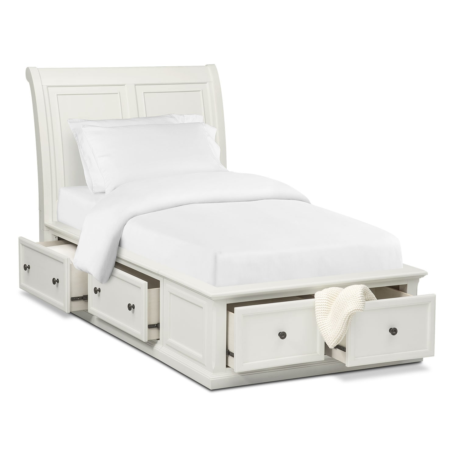 Hanover Youth Full Sleigh Bed with Storage - White