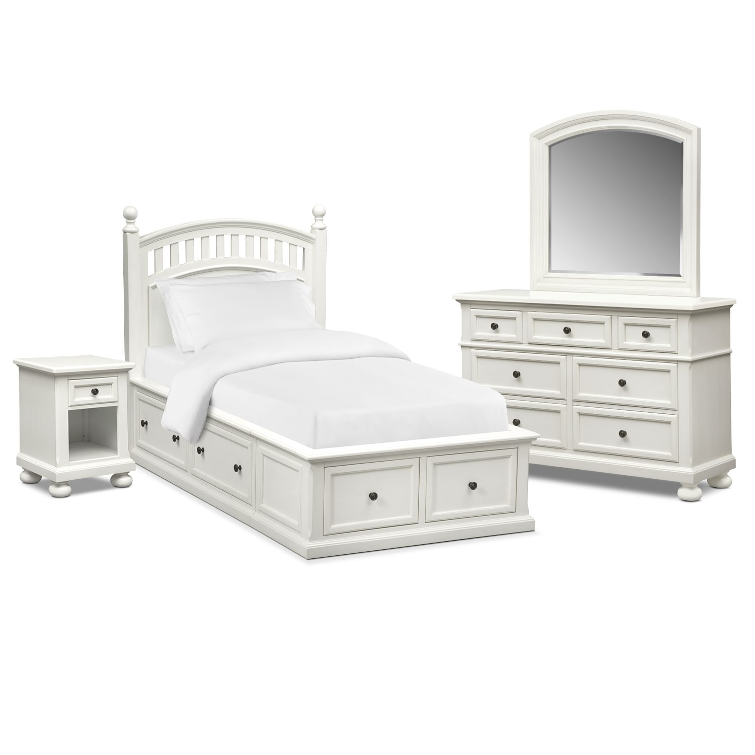 Bedroom Furniture - Hanover Youth 6-Piece Twin Poster Bedroom Set with Storage - White