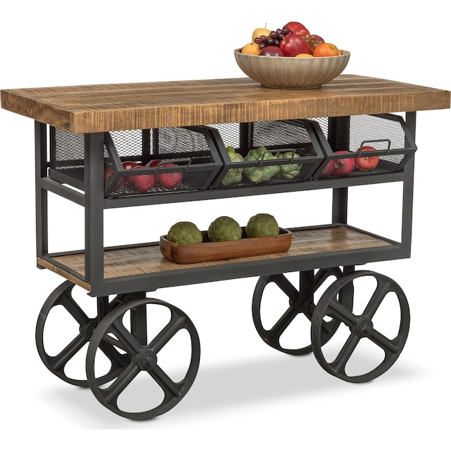 Accent and Occasional Furniture - Prospector Console Trolley - Natural and Black