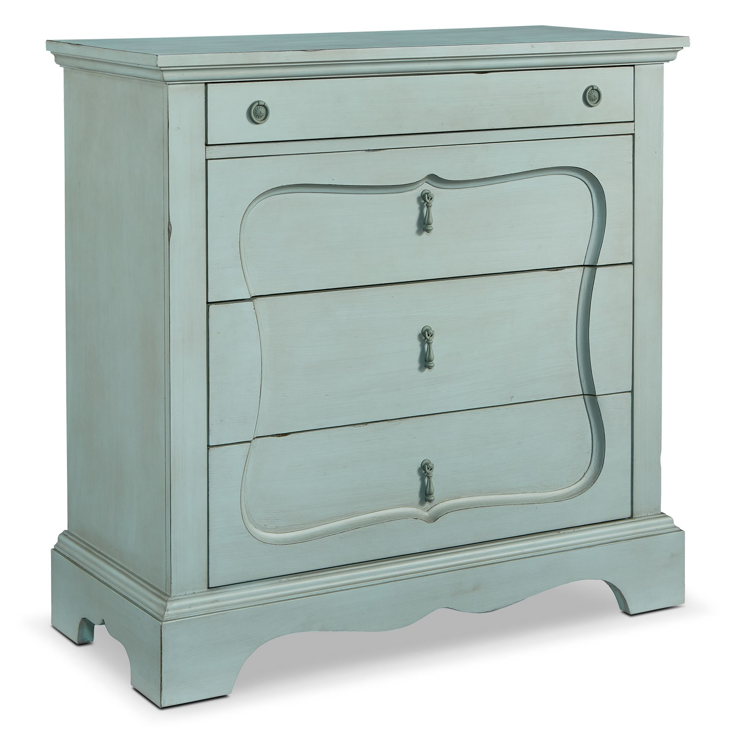French Inspired Silhouette 4-Drawer Chest - French Blue