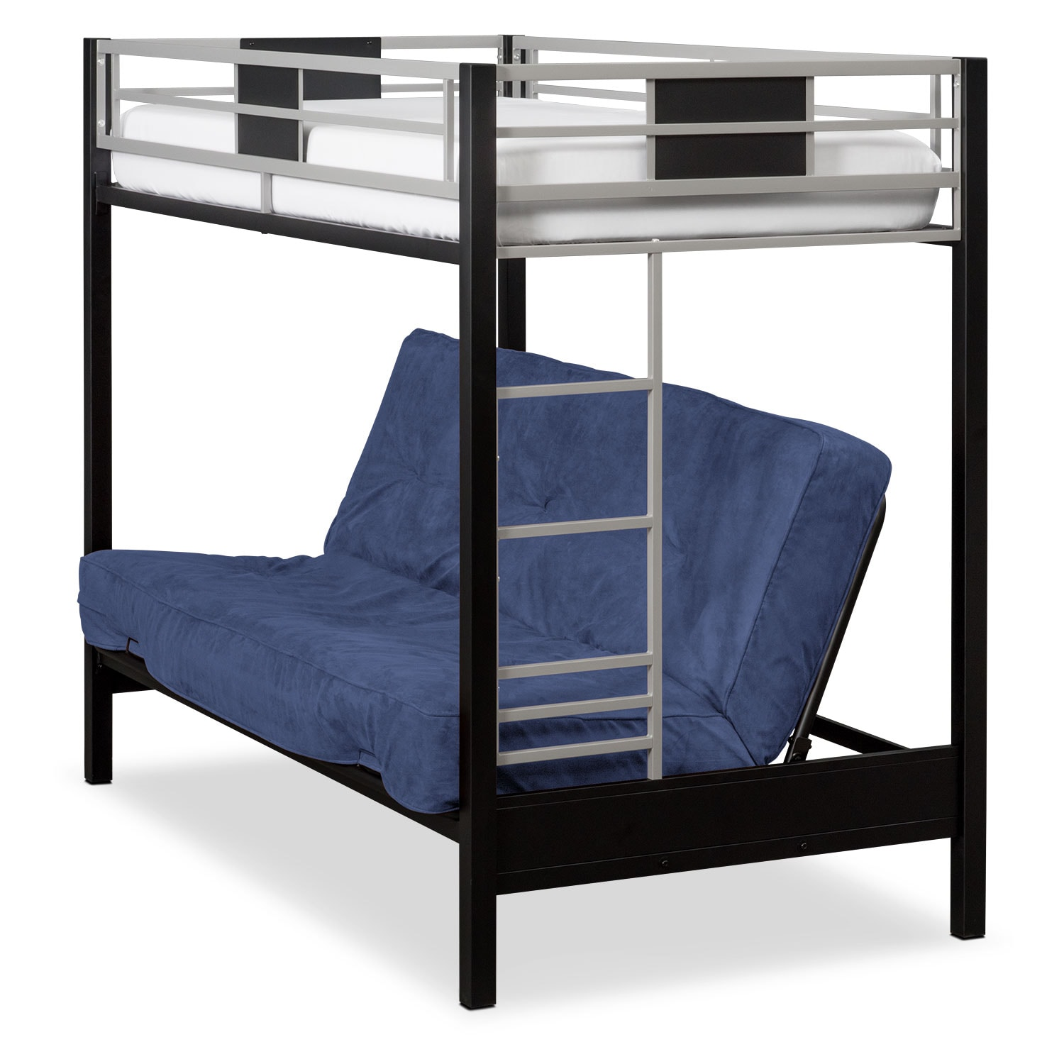 Kids Furniture - Samba Youth Twin/Full Futon Bunk Bed with Blue Futon Mattress