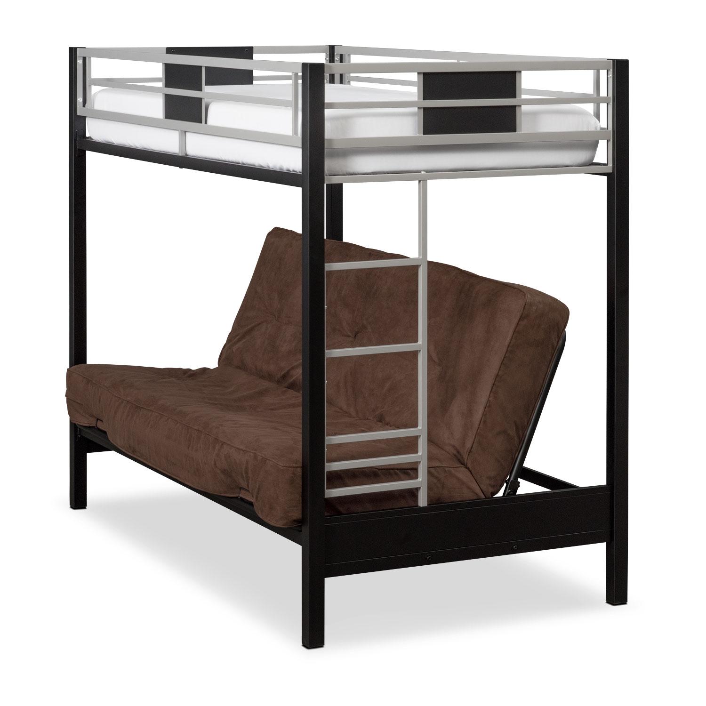 Samba full full futon bunkbed matte black american for Full bed with mattress included