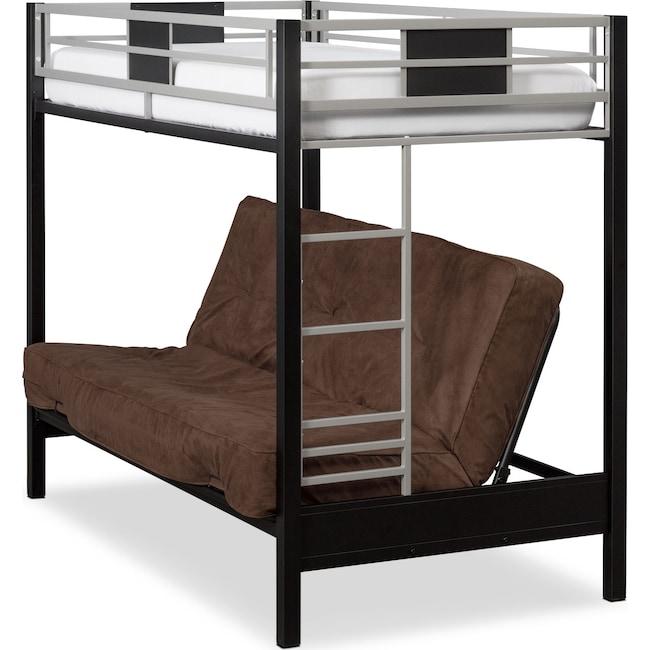 Bedroom Furniture - Samba Youth Twin/Full Futon Bunk Bed with Chocolate Futon Mattress