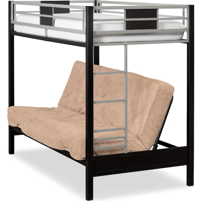 Bedroom Furniture - Samba Youth Twin/Full Futon Bunk Bed with Cappuccino Futon Mattress