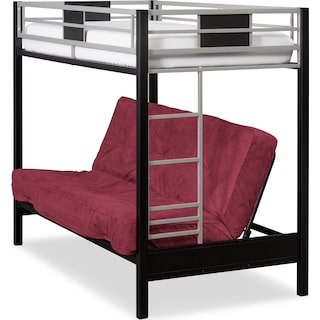 Samba Youth Twin/Full Futon Bunk Bed with Red Futon Mattress
