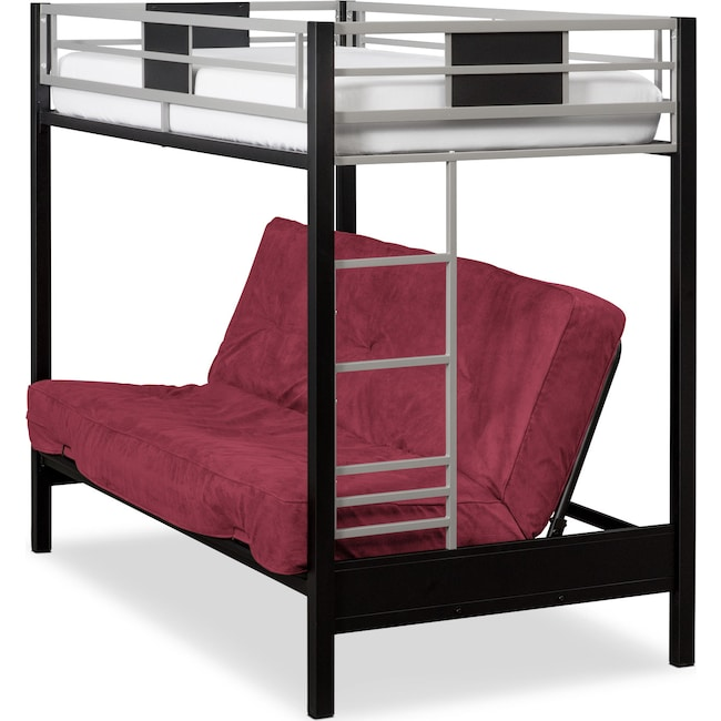 Bedroom Furniture - Samba Youth Twin/Full Futon Bunk Bed with Red Futon Mattress