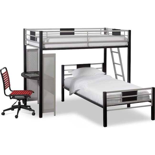 Samba Twin over Twin Loft Bed with Desk - Matte Black | American ...