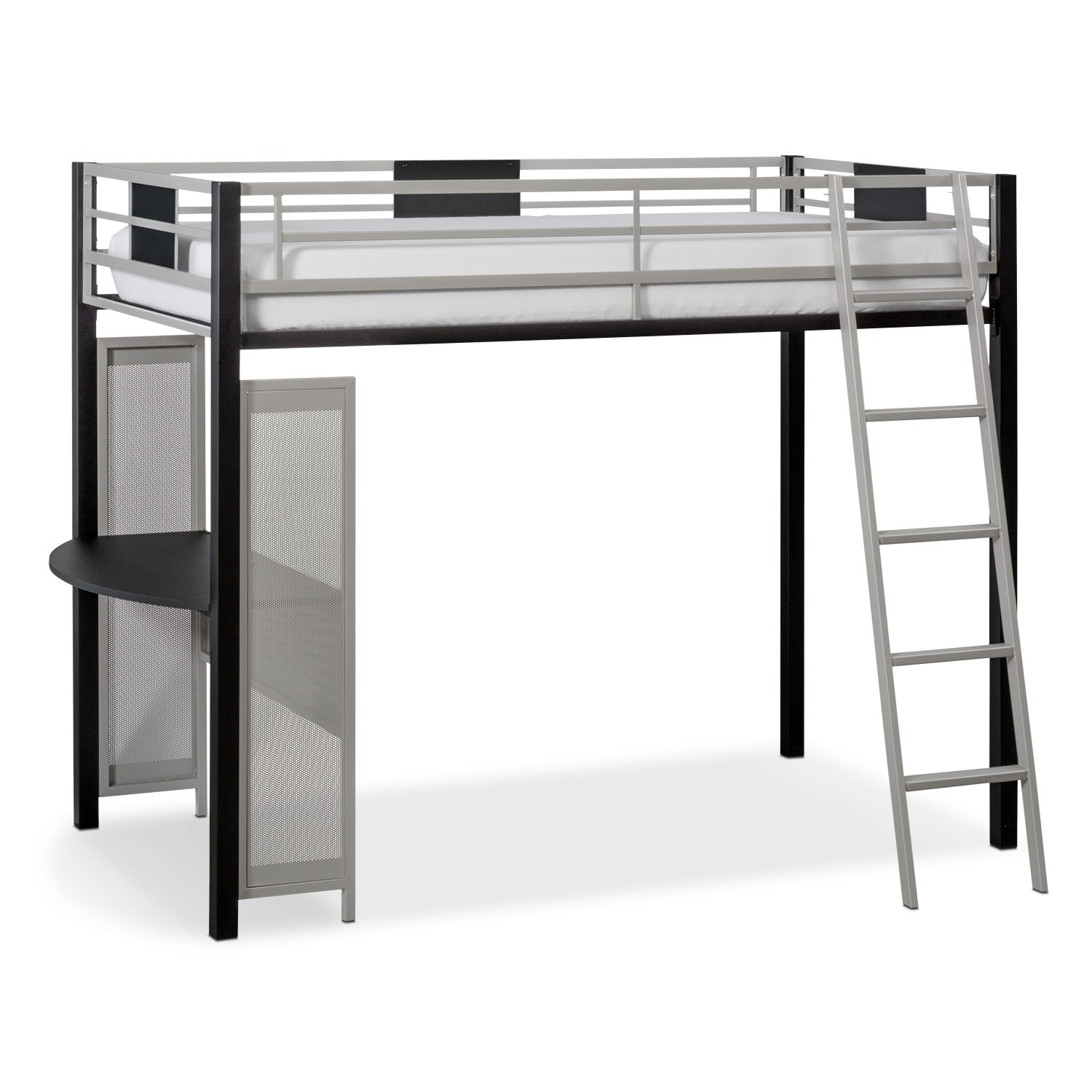 Samba Youth Twin Loft Bed With Desk Matte Black American Signature Furniture