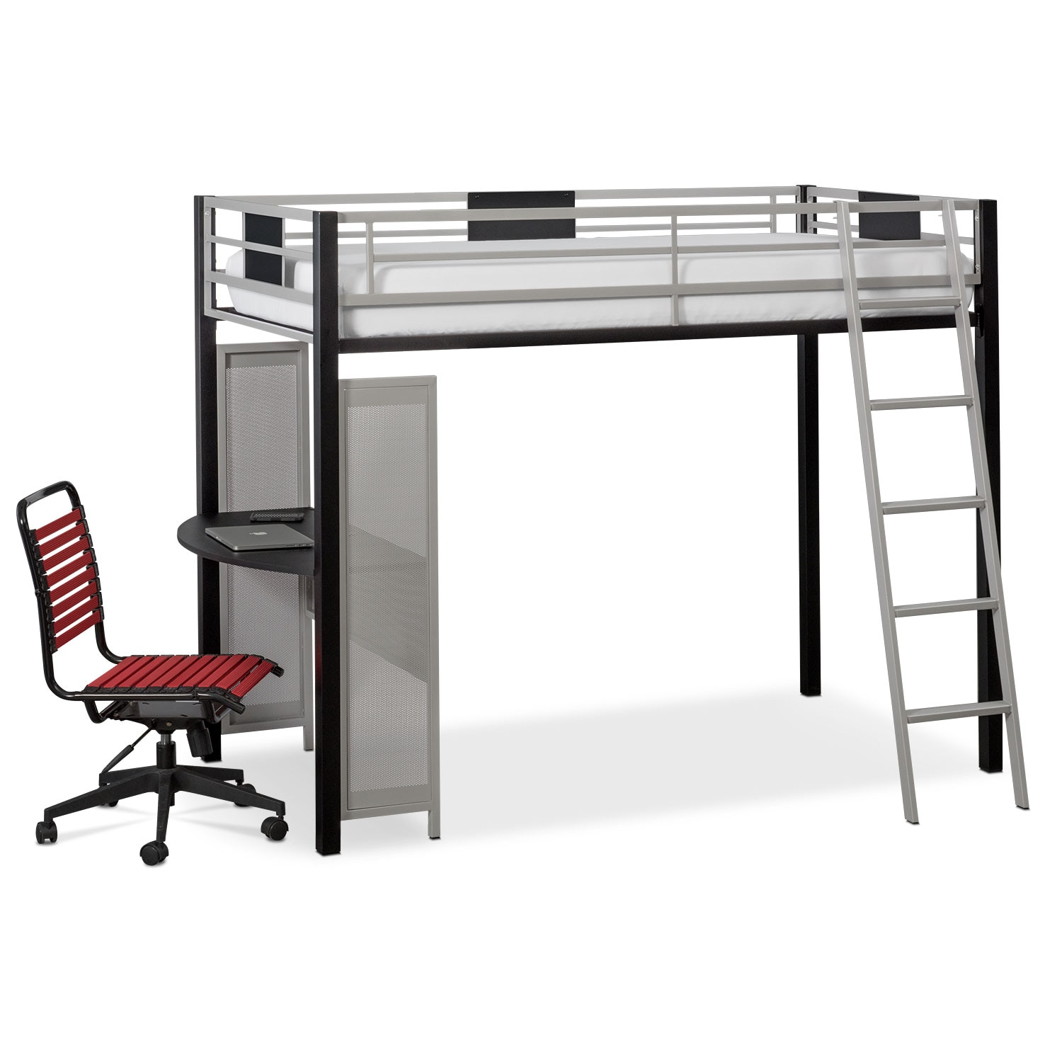 Bedroom Furniture - Samba Youth Twin Loft Bed with Desk - Matte Black