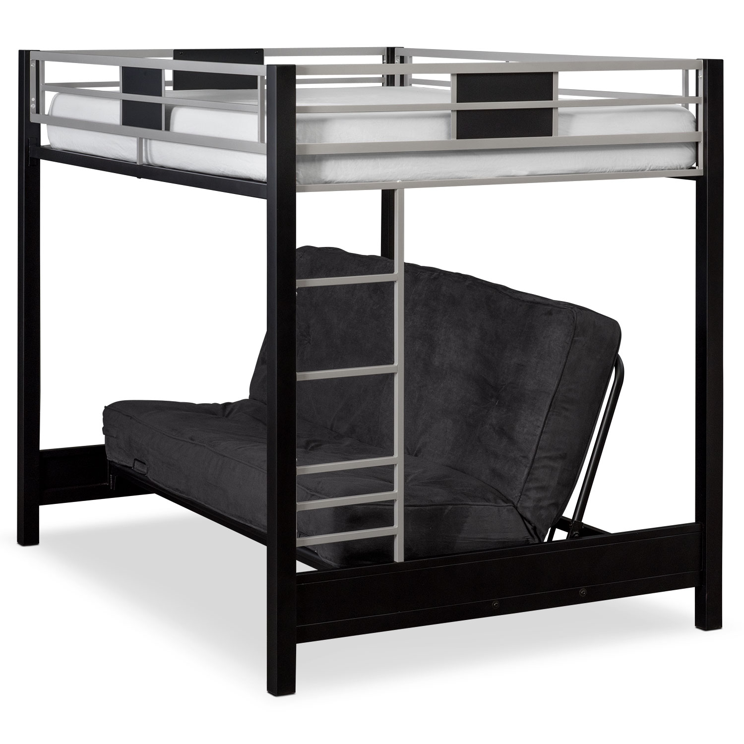 Samba Full Futon Bunk Bed With Black Mattress