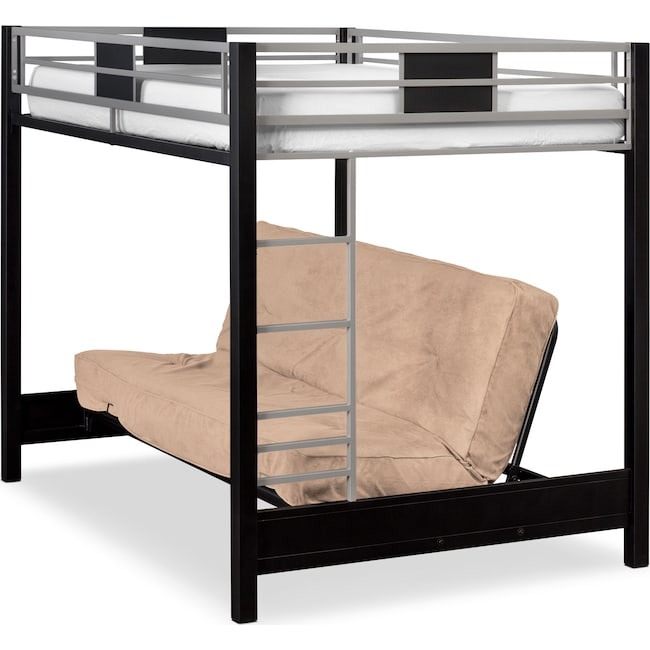 Bedroom Furniture - Samba Full Futon Bunk Bed with Cappuccino Futon Mattress