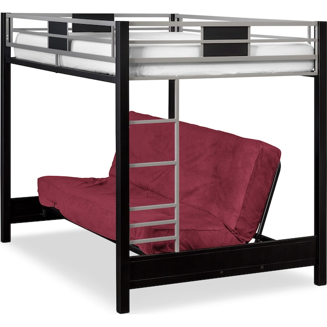 Bedroom Furniture - Samba Full Futon Bunk Bed with Red Futon Mattress