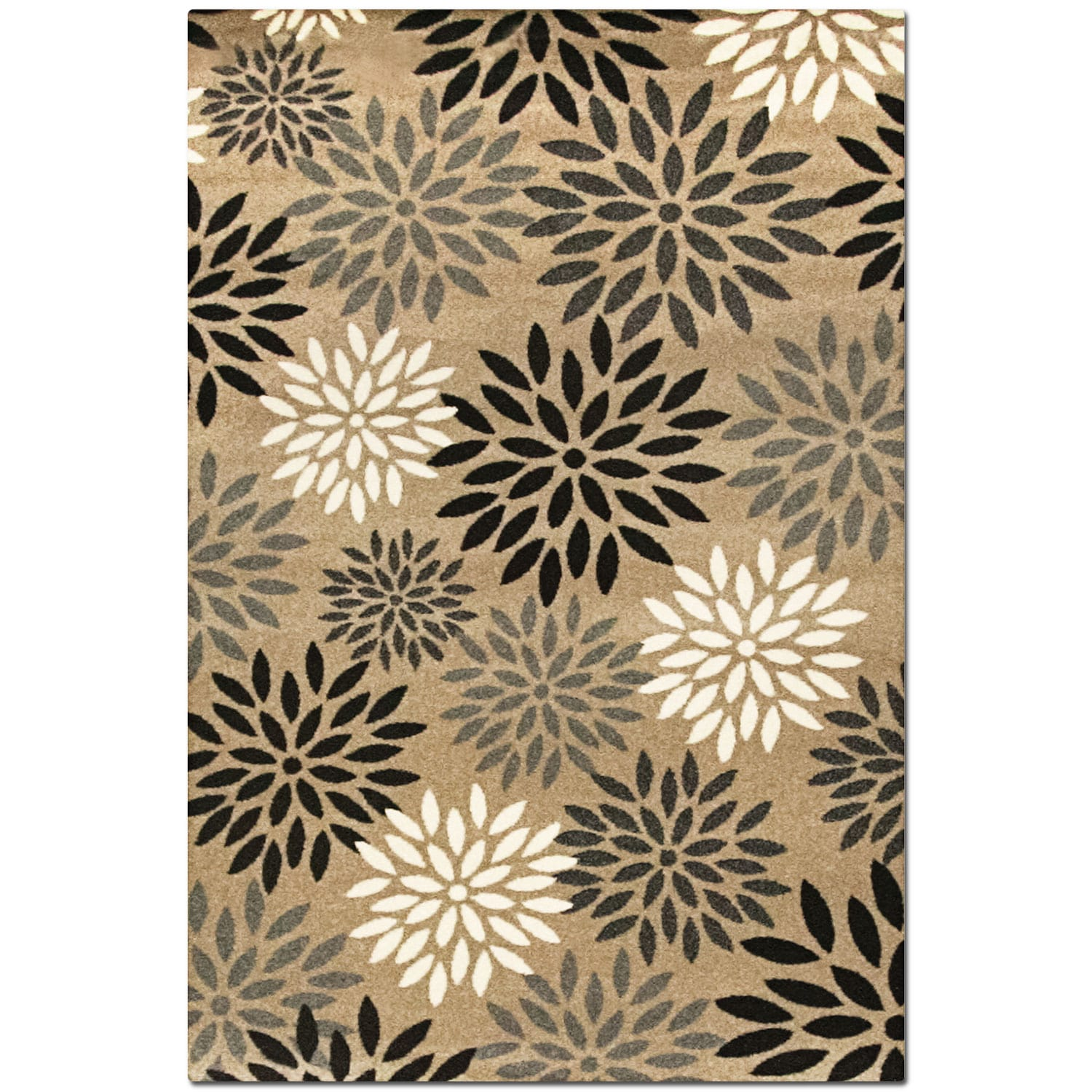 Rugs - Casa 5' x 8' Area Rug - Tan and Black