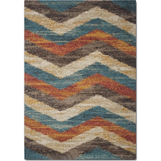 Granada 5' x 8' Area Rug - Blue and Rust