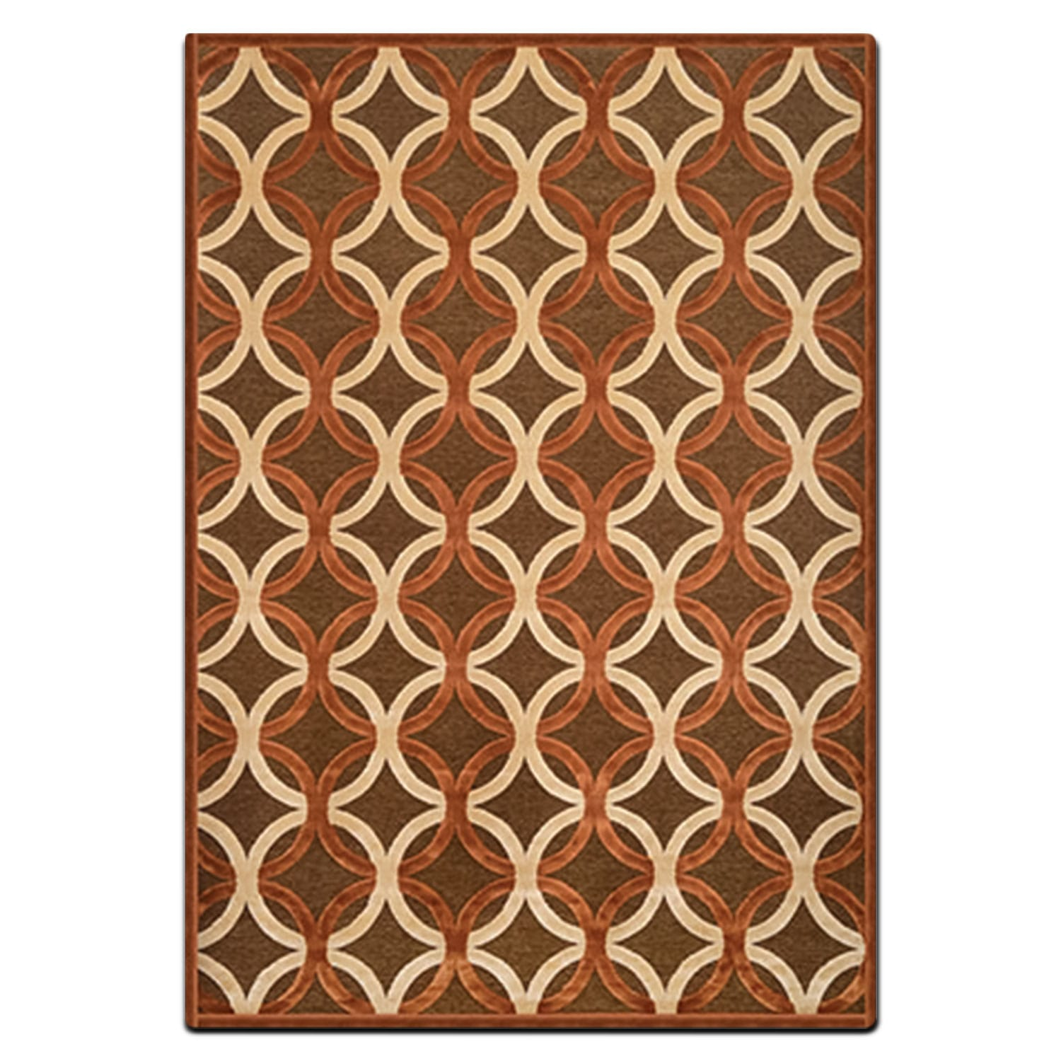 Rugs - Napa 5' x 8' Area Rug - Rust and Ivory