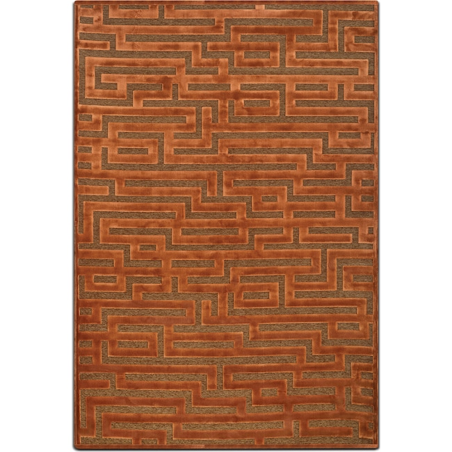 Rugs - Napa 5' x 8' Area Rug - Rust and Brown