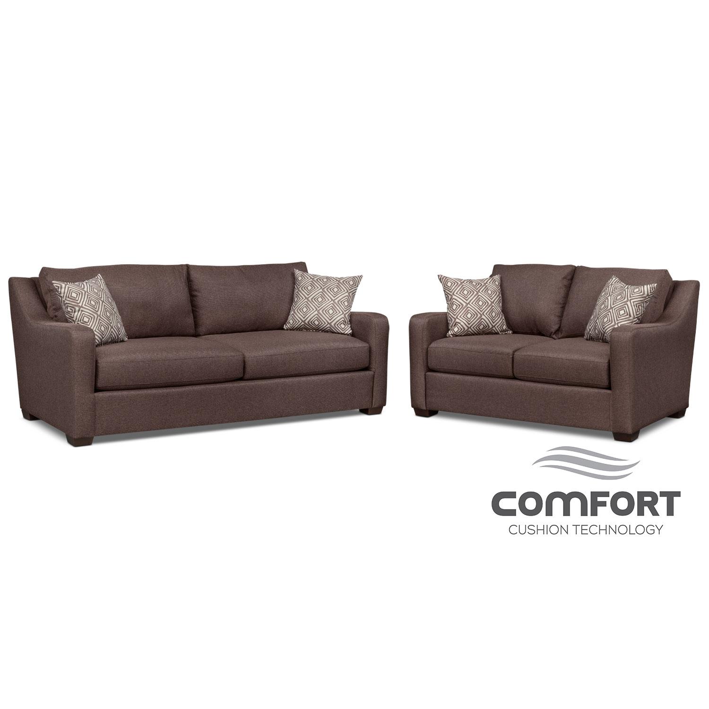 Jules Comfort Sofa and Loveseat Set - Brown