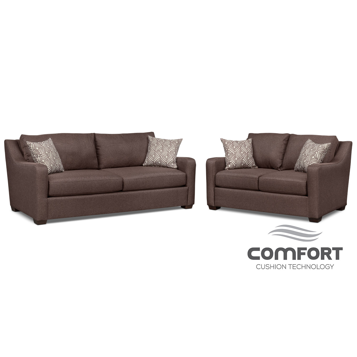 Living Room Furniture - Jules Comfort Sofa and Loveseat Set - Brown