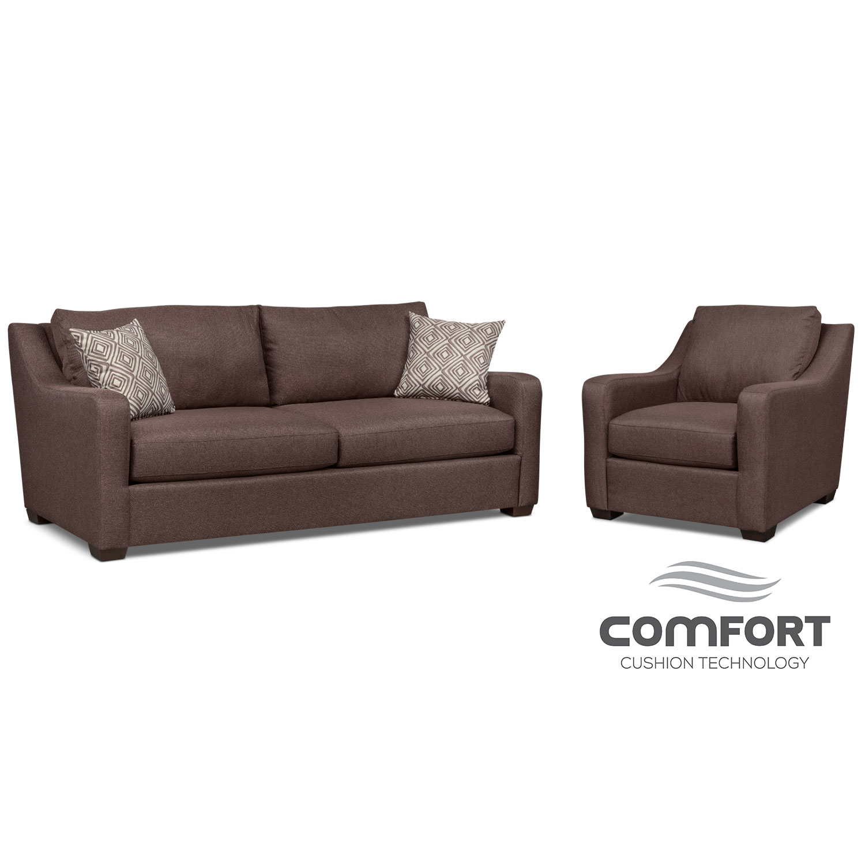 Living Room Furniture - Jule Comfort Sofa and Chair Set - Brown